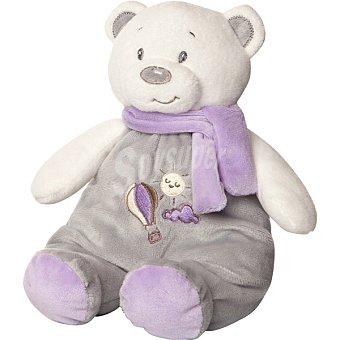 ARTESAVI oso con bufanda y sonajero en color gris y malva