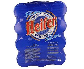 HEIFER Cerveza Sin Alcohol Pack de 12 Latas de 33 Centilitros