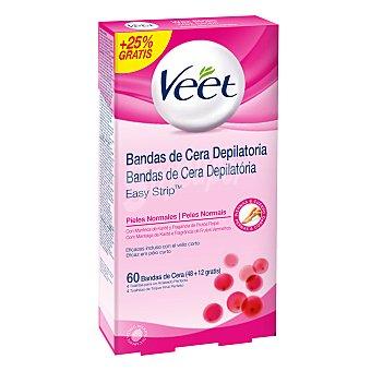 Veet Depilatorio Bandas de cera corporal para piel normal 48 + 12 ud