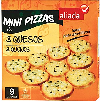 Aliada Mini pizzas 3 quesos estuche 270 g 9 unidades