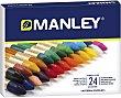 Caja de 24 ceras blandas de diferentes colores e ideales para uso escolar manley  Manley