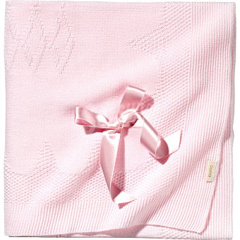 DOMBI Toquilla de punto con lazo en color rosa