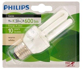 PHILIPS Genie Bombilla bajo consumo tubo 11 Watios, casquillo E27 (grueso), luz cálida E27 1 unidad