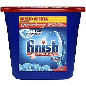 Finish Detergente lavavajillas Power gel caps todo en 1 envase 32 cápsulas 1 envase 32 c