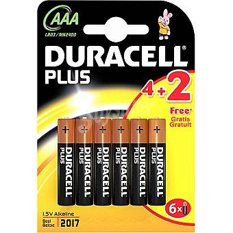 DURACELL PLUS Alcalina AAA (lr03 - mn2400) 1,5 voltios blister 4 unidades + 2 gratis 4 unidades + 2 gratis