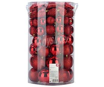 Actuel Set de 82 bolas de diferentes tamaños, con diseño brillante y de purpurina color rojo, ACTUEL.