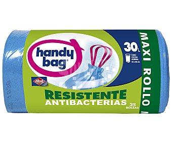 Handy bag Bolsas de basura con autocierre azul resistente antibacterias 55x60 rollo 30 L Paquete 25 bolsas