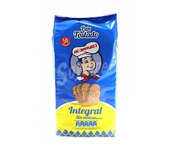LOS COMPADRES pan tostado integral sin azúcar paquete 300 g