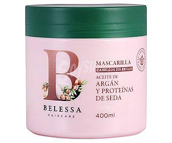 Belessa Mascarilla con aceite de argán y proteínas de seda, para cabellos sin brillo 400 ml