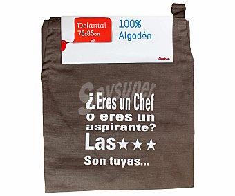 Auchan Delantal estampado de algodón, color marrón pardo, 75x85 centímetros 1 Unidad