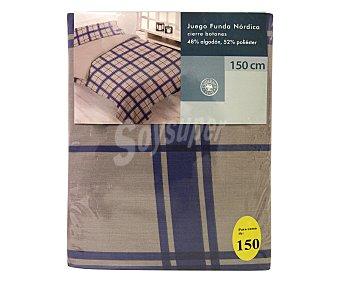 Auchan Funda para edredón nórdico, cuadros color azul, 150 centímetros Fda. Nórdica 150cm Cd Az