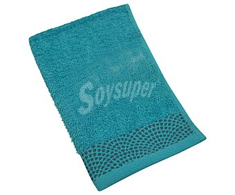 Actuel Toalla de tocador 100% algodón color azul turquesa con cenefa inferior, 400g/m², ACTUEL. 400g