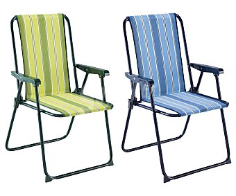 Auchan Sillón fijo para camping y playa. Fabricado en aluminio, tubo redondo de 1.8 centímetros, con asiento de tela acolchado de 2 centímetros y respaldo alto 1 unidad