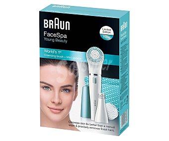 Braun Pack de cepillo de limpieza y depiladora facial 832 Exfoliante, uso en seco y húmedo, cabezal de depilación fino, alimentación con pila face