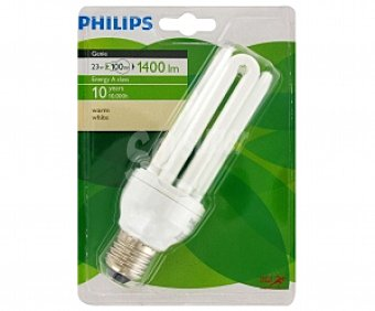 Philips Bombilla tubo ahorradora 23W, luz cálida, E27 Genie 1 Unidad