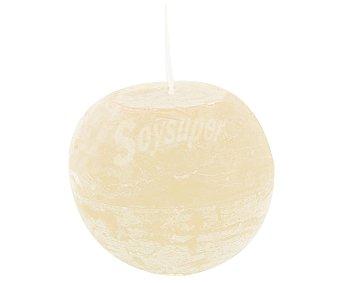AUCHAN Vela con forma de bola de 100 milímetros, con acabado rústico de color marfil 1 Unidad