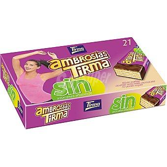 Tirma ambrosías tradicionales galletas de barquillo rellena cubierta de chocolate con leche sin azúcares añadidos paquete 451,5 g