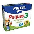 Leche (3) de crecimiento con cereales y frutas, de 12 a 36 meses 3 x 200 ml Puleva Peques