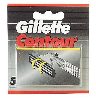 Gillette Contour recambio de maquinilla de afeitar estuche 5 unidades Estuche 5 unidades