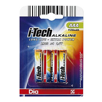 DIA Pilas AAA i-tech alkaline pack 4 ud Pack 4 ud