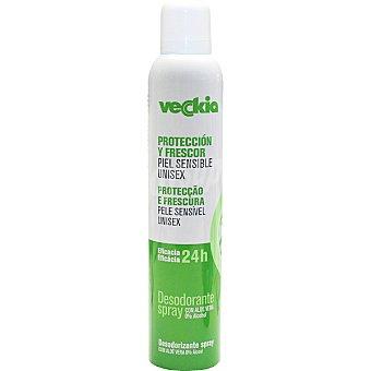 Veckia Desodorante unisex protección y frescor con aloe vera eficacia 24h sin alcohol spray 200 ml para piel sensible Spray 200 ml