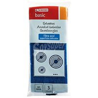 Eroski Basic Salvauñas fibra azul Pack 3 unid