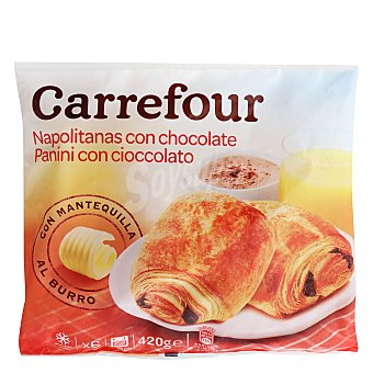 Carrefour Napolitana con chocolate Pack 6x75 g