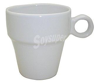 AUCHAN Mug o taza alta con asa, con capacidad de 26 centilítros y fabricada en gres color blanco 1 Unidad