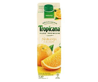 TROPICANA PURE PREMIUM Zumo naranja sin pulpa Envase de 1 l