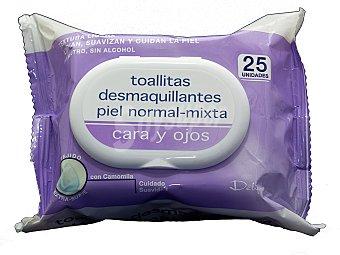 Deliplus Toallitas faciales desmaquilladoras piel normal (color morado) Paquete 25 u