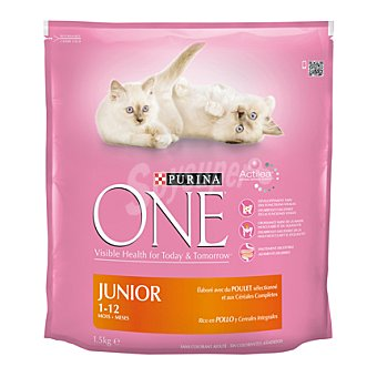 One Purina Menú Gato Junior Rico en Pollo y con Cereales Integrales 1,5Kg 1500 gr
