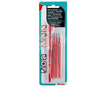 Auchan Bolígrafo de con tinta de color rojo en formato gel, borrable y con grosor de escritura de 0,7 ml + 3 recargas 1 unidad