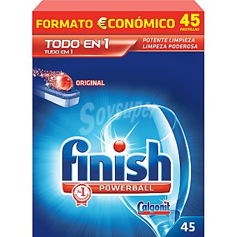 FINISH Calgonit detergente lavavajillas Power Ball todo en 1 caja 45 pastillas