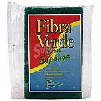 Hipercor estropajo fibra verde con esponja grande paquete 1 unidad