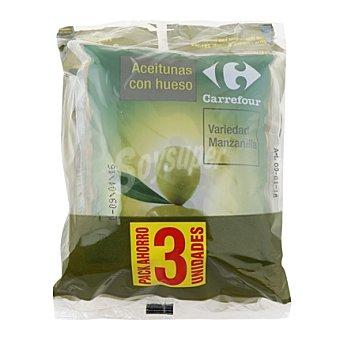 Carrefour Aceitunas verdes manzanilla con hueso Pack 3x100 g