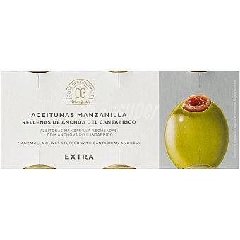 Club del gourmet Aceitunas manzanilla rellenas de anchoas del Cantábrico extra neto escurrido Pack 3 latas 50 g