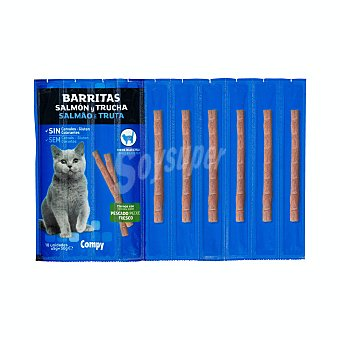 Compy Comida de gato snack barrita de salmón y trucha Paquete 50 g (10 u)