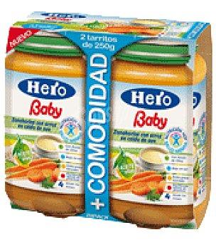 Hero Baby Tarrito de Zanahorias con arroz en caldo de ave Pack de 2x250 g