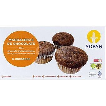Adpan Magdalenas de chocolate 6 unidades estuche 210 g 6 unidades
