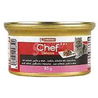 Eroski Delicias de salmón-pollo-atún Lata 85 g