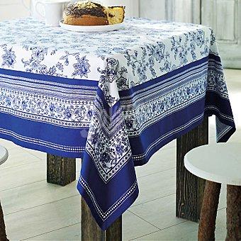 CASACTUAL Cartuja mantel estampado en tonos azules 150 x 200 cm