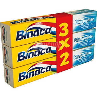 BINACA pasta dentífrica blanqueante pack 3 tubo 75 ml