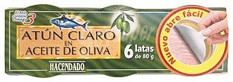 Hacendado Atun claro aceite oliva ( abrefacil solapin) 6 latas (480 g - 360g escurrido)