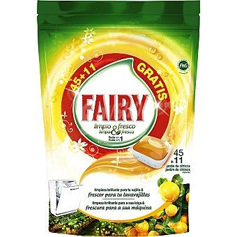 FAIRY limpio & fresco detergente lavavajillas Fresh Orange jardín de cítricos todo en  1 envase 45 unidades + 11 gratis