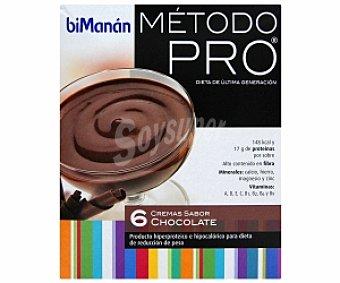BIMANÁN Pro Cremas sabor chocolate, producto hiperproteico e hipocalórico para dieta de reducción de peso bimanán Método Pro 6 Unidades de 45 Gramos 6x45g