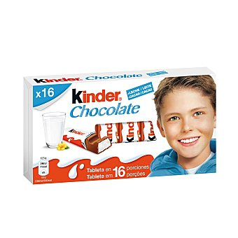Kinder Kinder chocolate. Chocolatina barrita con leche Paquete 16 u (200 gramos)