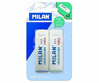 Milan Lote de 2 gomas de borrar rectangulares y de color blanco Nata nº612 nata Nº 612