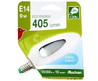 Auchan Bombilla bajo consumo vela 9W, casquillo E14 (fino), luz blanca 1u