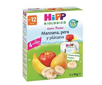 HiPP Biológico Puré de manzana pera y plátano de agricultura ecológica 4 unidades de 90 gramos