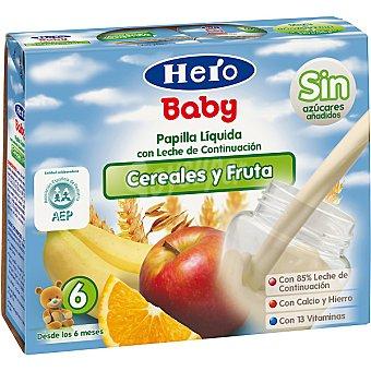 Hero Baby Papilla líquida de cereales-frutas Pack 2x250 ml